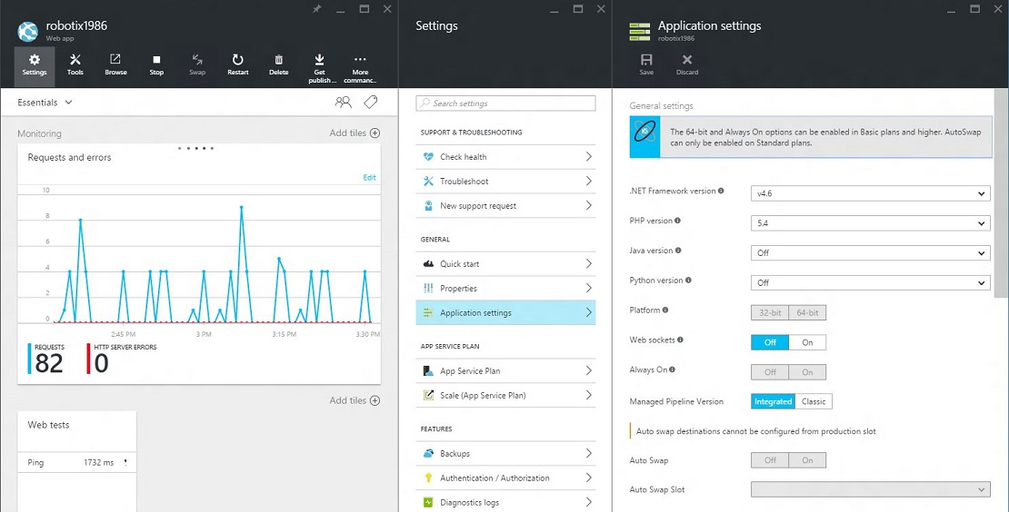 Azure Web App and Settings blades