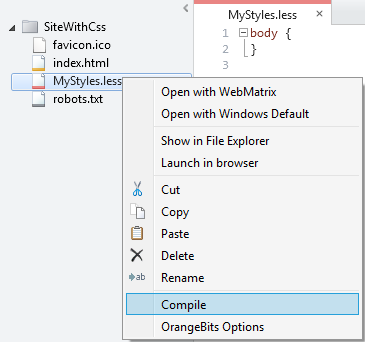 Context menu to compile LESS file into a CSS file