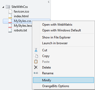 Context menu to minify a CSS file