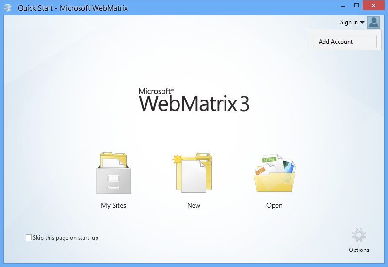 WebMatrix 3 Start Page Sign In Drop Down